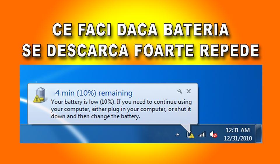 mesaj baterie descarcata